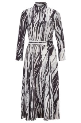 Belted midi shirt dress in zebra-print Italian twill, Patterned