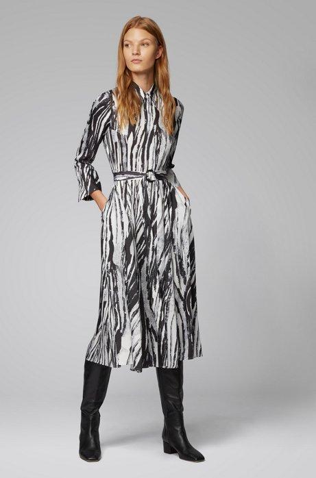 Belted midi shirt dress in zebra-print Italian twill, Patterned