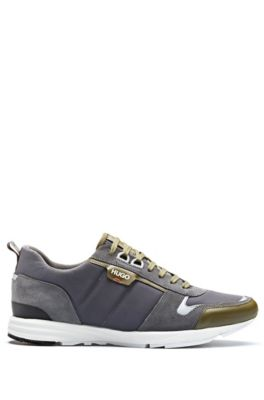 Low-top sneakers in leather, suede and structured nylon, Open Grey