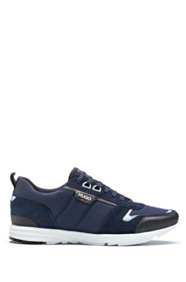Low-top sneakers in leather, suede and structured nylon, Dark Blue