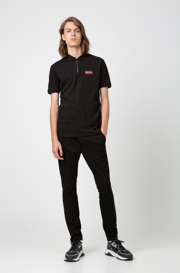 Regular-fit polo shirt with zip neck