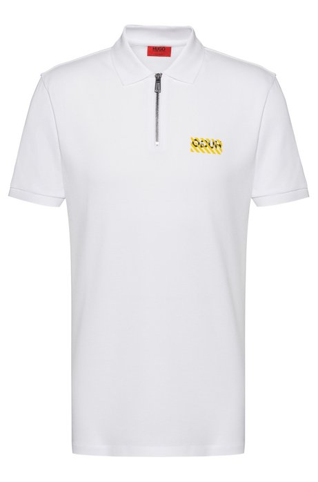 Regular-fit polo shirt with zip neck , White