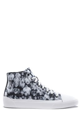 High-top sneakers with crowd-scene graphics, Open Grey