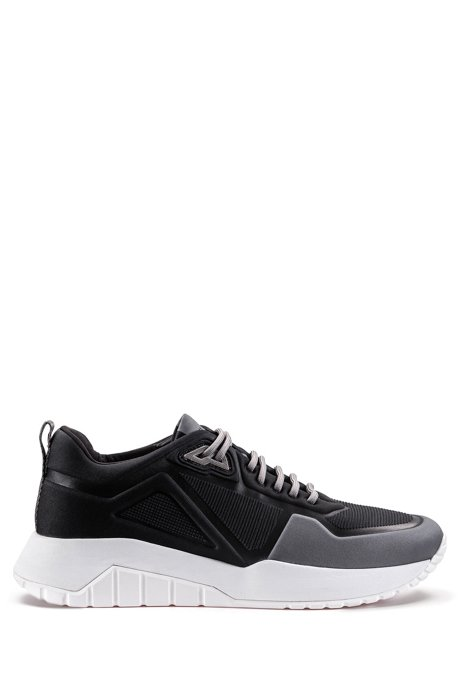 Low-top sneakers in embossed neoprene, Black