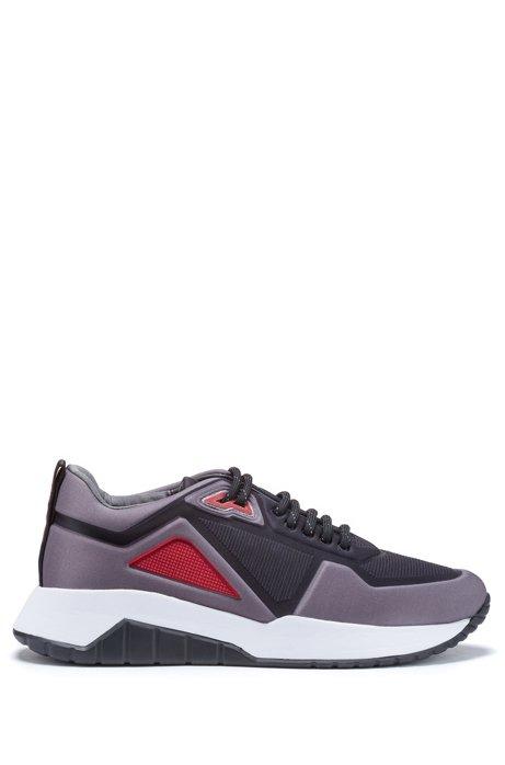 Low-top sneakers in embossed neoprene, Open Grey