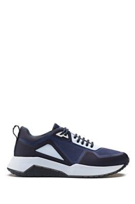 Low-top sneakers in embossed neoprene, Dark Blue