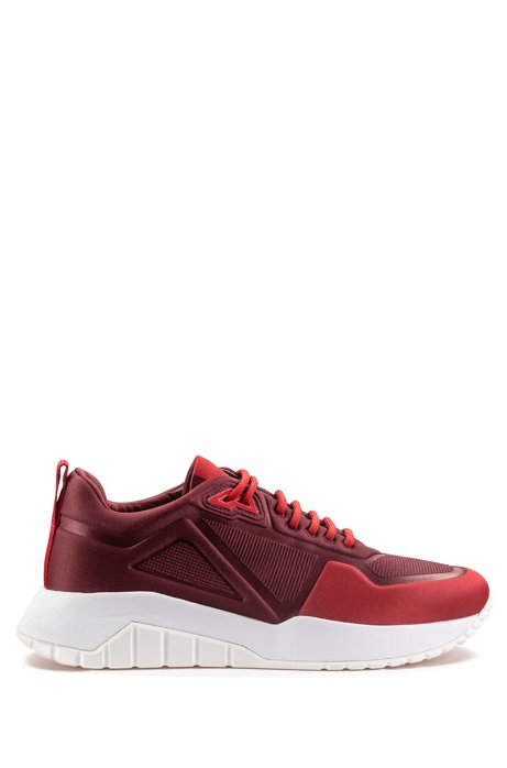 Low-top sneakers in embossed neoprene, Dark Red