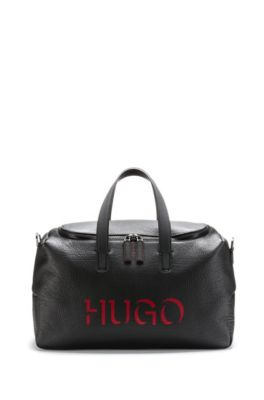 Hugo Buffalo-Embossed Leather Holdall With 3D-Effect Logo In Black