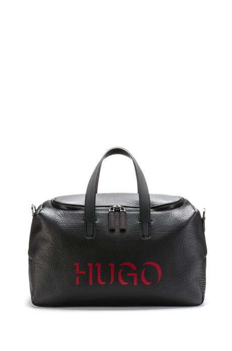 Buffalo-embossed leather holdall with 3D-effect logo, Black