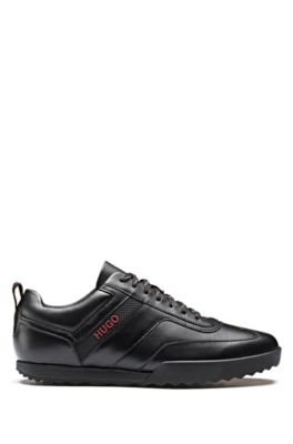Low-top sneakers in nappa leather, Black