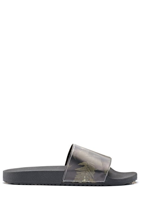 Italian-made slides with camouflage-print logo strap, Open Green