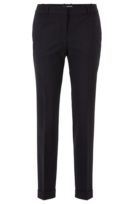 Relaxed-fit pants in pinstripe Italian fabric, Patterned