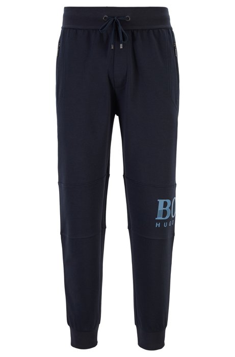 Drawstring loungewear pants in knitted piqué with textured logo, Dark Blue