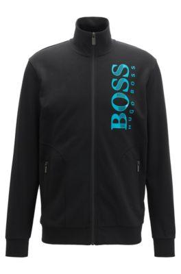 Zip-through loungewear jacket with textured logo, Black