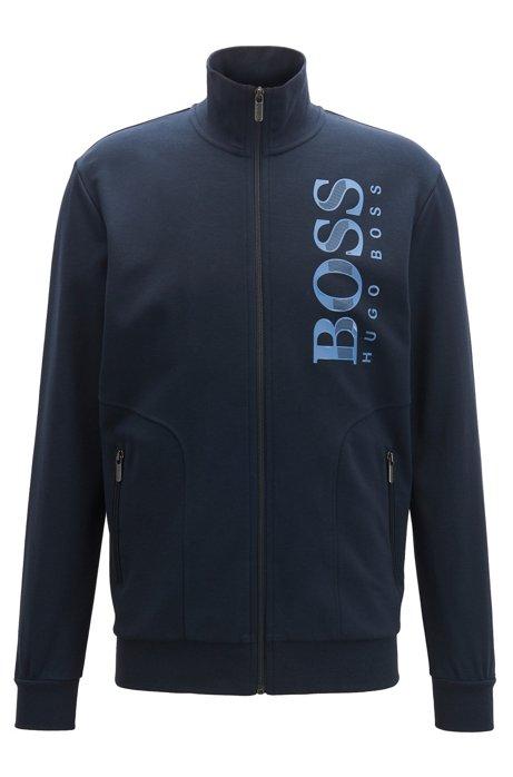 Zip-through loungewear jacket with textured logo, Dark Blue