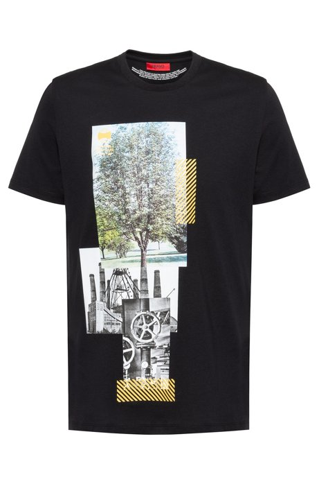Cotton-blend T-shirt with photographic print, Black