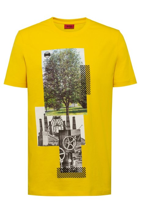 Cotton-blend T-shirt with photographic print, Yellow