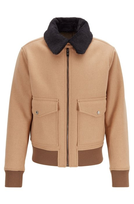 Regular-fit blouson jacket with water-repellent finish, Beige