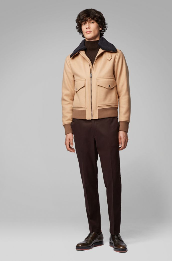Regular-fit blouson jacket with water-repellent finish