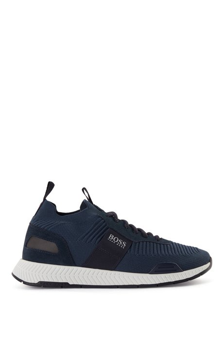 Running-inspired hybrid sneakers with knitted sock, Dark Blue