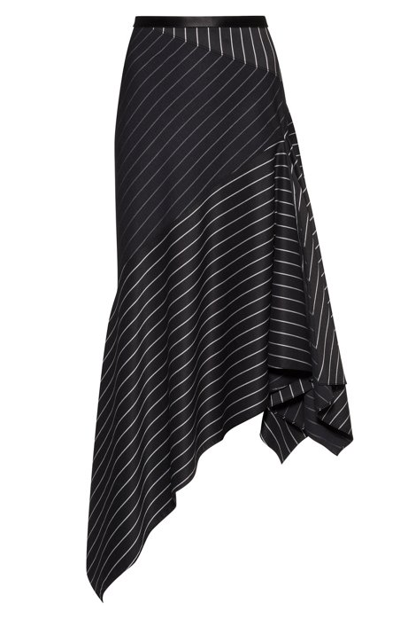 Regular-fit striped skirt with asymmetric hemline, Black