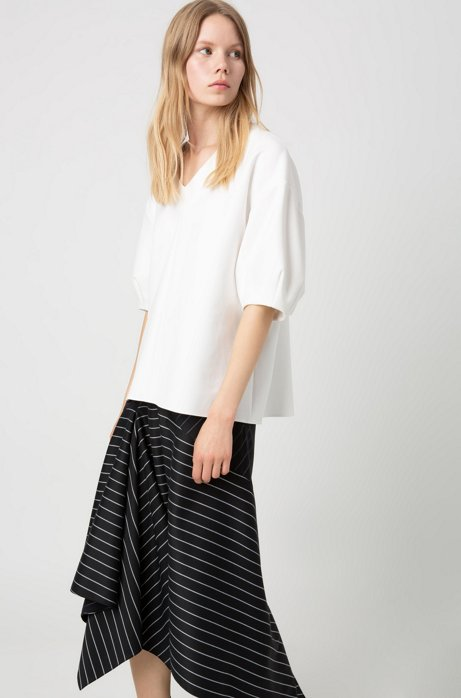 Regular-fit striped skirt with asymmetric hemline, Black