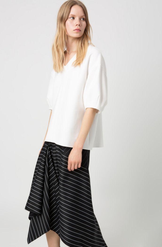 Regular-fit striped skirt with asymmetric hemline