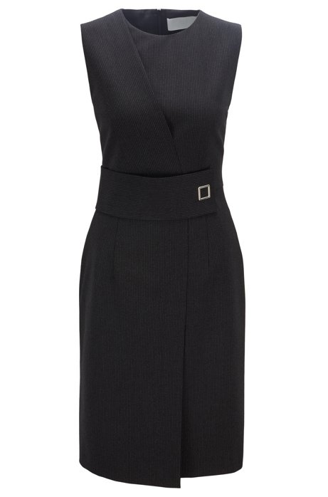 Wrap-effect dress with irregular pinstripe in Italian fabric, Patterned