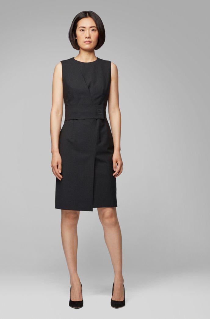 Wrap-effect dress with irregular pinstripe in Italian fabric