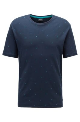Monogram pajama T-shirt in interlock cotton, Dark Blue