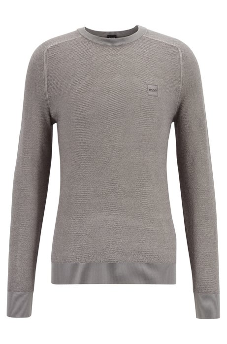 Lightweight sweater in virgin wool with rice-corn structure, Grey