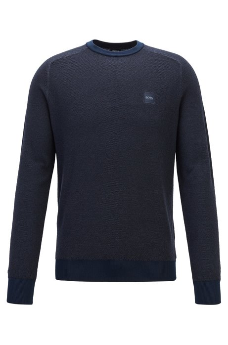 Lightweight sweater in virgin wool with rice-corn structure, Dark Blue