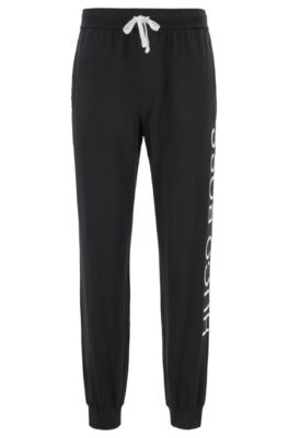 Pajama pants in stretch-cotton jersey with cut logo, Black