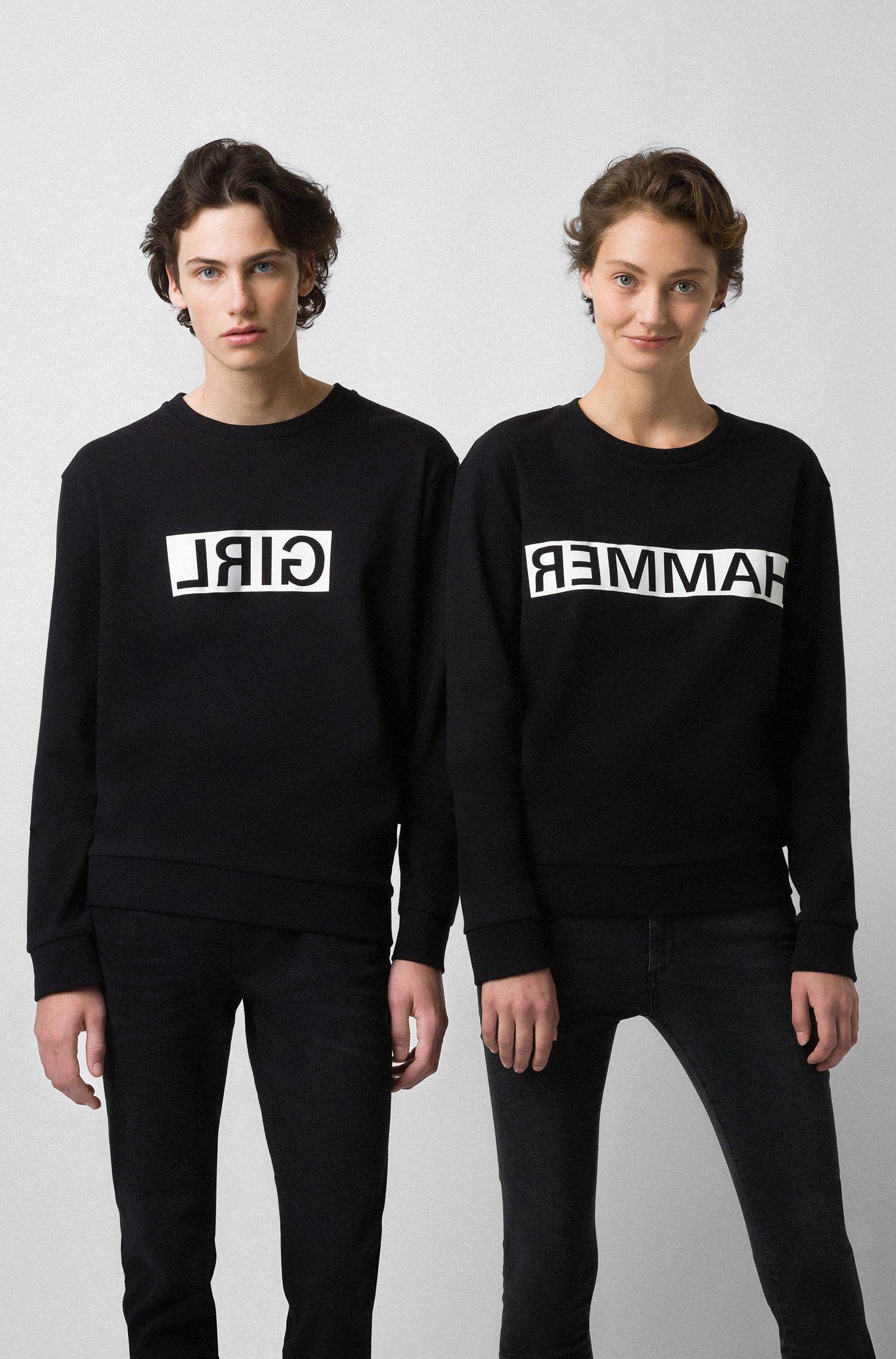Unisex cotton sweatshirt with reversed personalization, Black