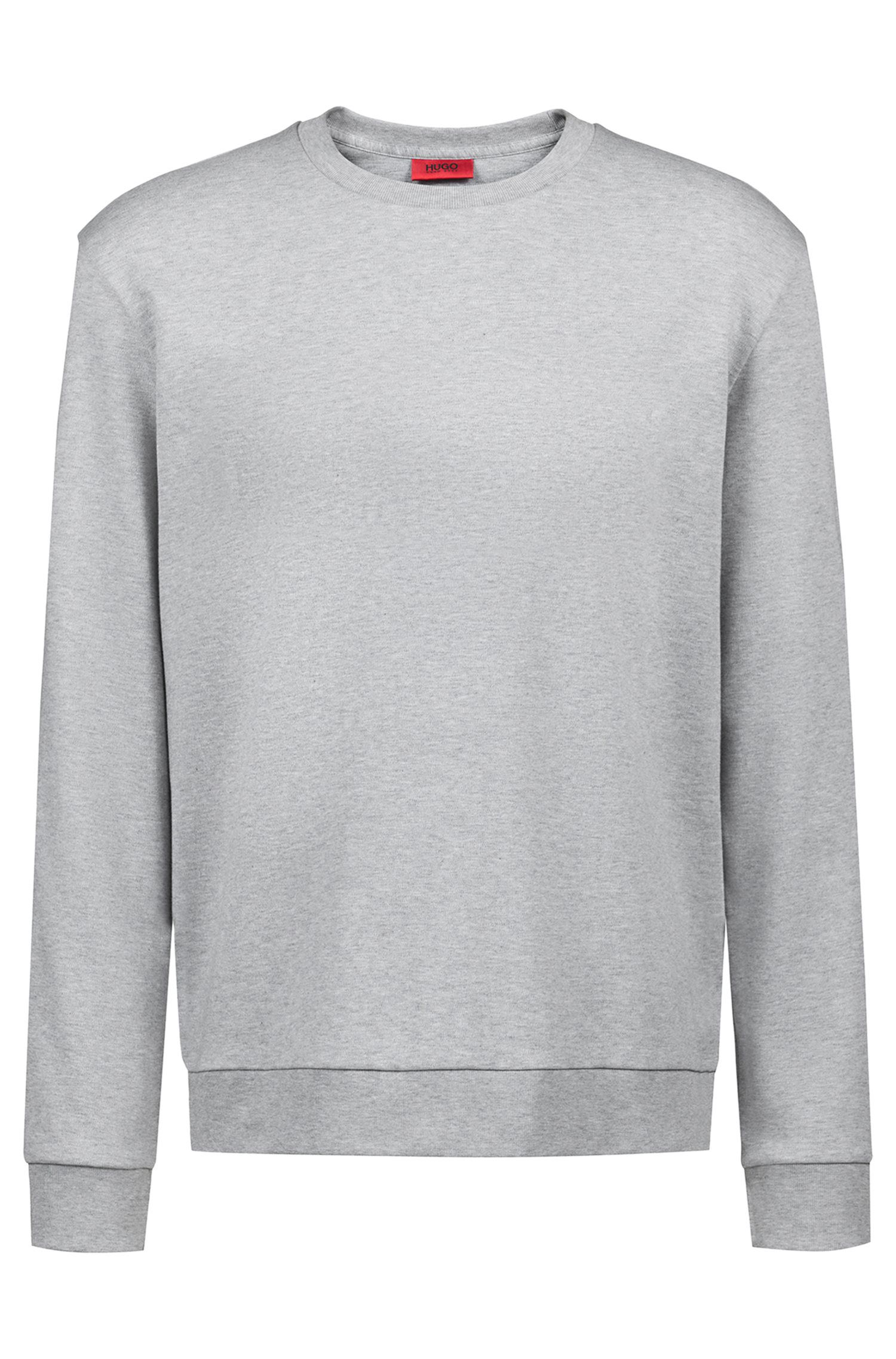 Unisex cotton sweatshirt with reversed personalization, Open Grey