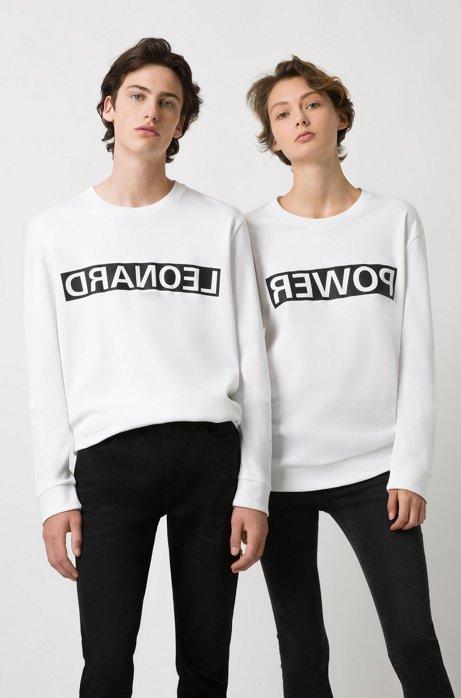 Unisex cotton sweatshirt with reversed personalization, White