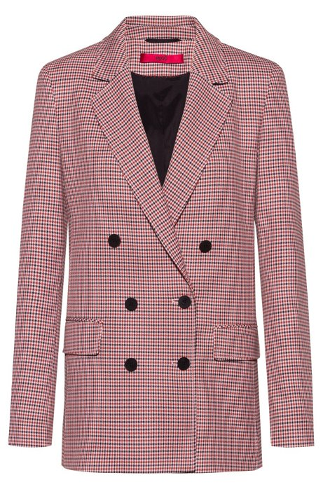 Double-breasted relaxed-fit jacket with micro-houndstooth motif, Patterned
