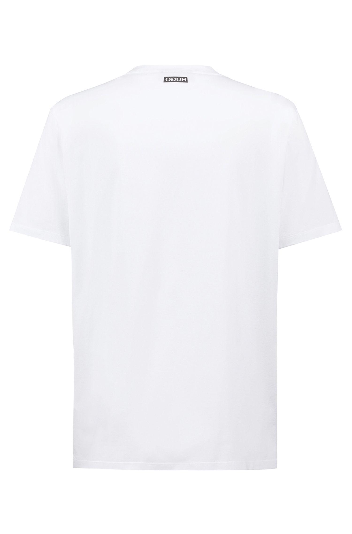 Unisex cotton T-shirt with reversed personalization, White
