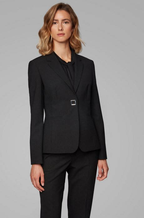Slim-fit jacket in pinstriped Italian fabric, Patterned