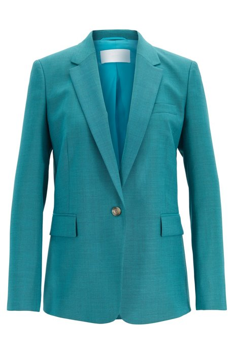 Slim-fit jacket in sharkskin virgin wool, Turquoise