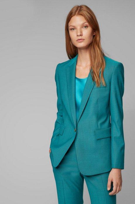 Slim-fit jacket in sharkskin virgin wool, Turquoise