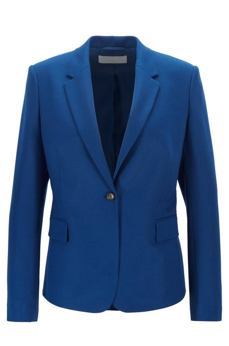 Regular-fit jacket in stretch-wool flannel, Blue