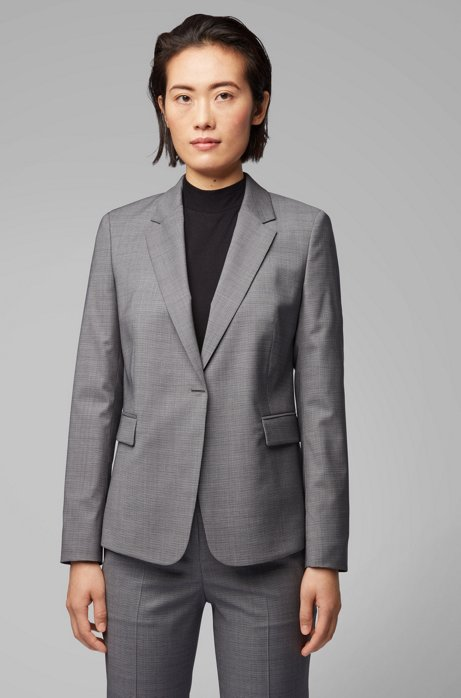 Regular-fit jacket in micro-patterned wool with hardware closure, Patterned