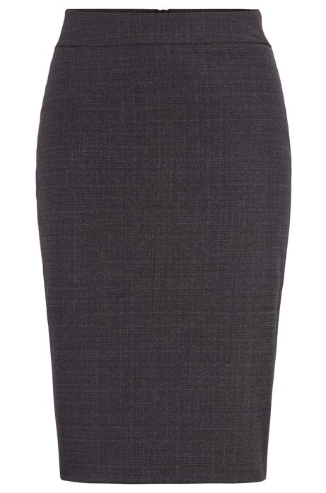 Slim-fit skirt in two-tone Italian wool, Patterned