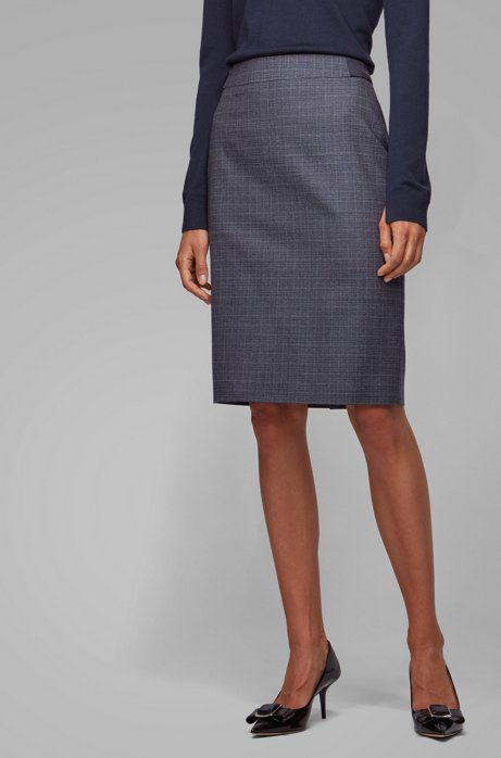 Slim-fit skirt in two-tone Italian wool, Patterned