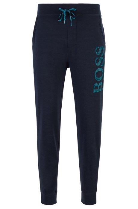 Drawstring pajama pants with monogram-filled logo, Dark Blue