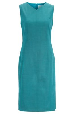 V-neck shift dress in sharkskin virgin wool, Turquoise