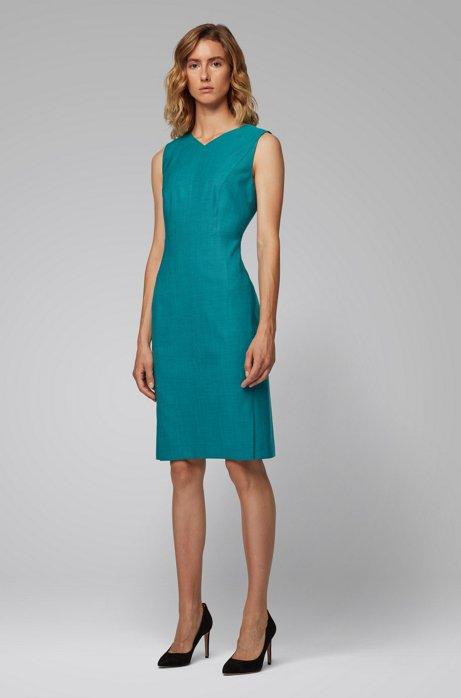 V-neck shift dress in sharkskin virgin wool, Turquoise