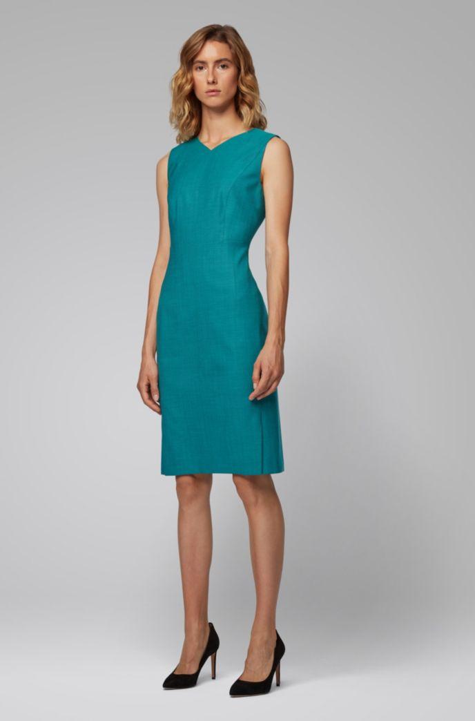 V-neck shift dress in sharkskin virgin wool