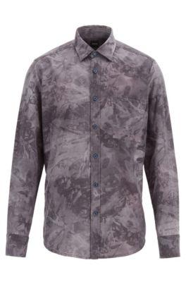 Regular-fit shirt in overprinted cotton flannel, Dark Blue